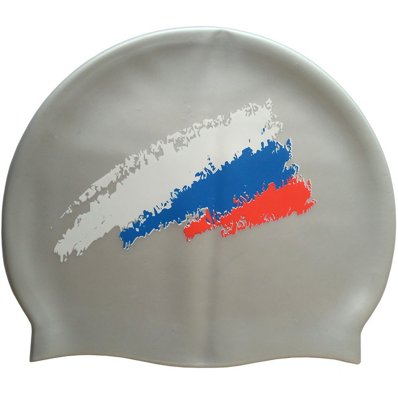 Купить Шапочка для плавания силиконовая SR Серый Металлик с принтом РФ Флаг CPT-007C-3, NoBrand