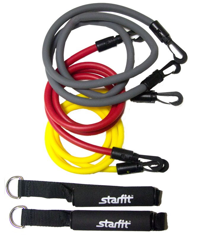 Комплект съемных эспандеров Star Fit ES-605 с ручками спортивный инвентарь starfit комплект съемных эспандеров es 606