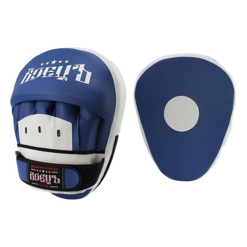 Лапы боксерские гнутые Боецъ 110 сине-белые