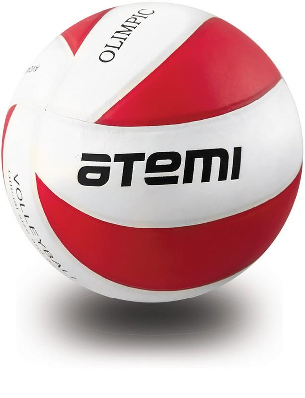 Волейбольный мяч р.5 Atemi Olimpic, синтетическая кожа PU красно-белый