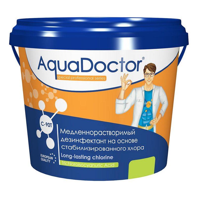 Хлор, 1кг ведро, табл.200гр, медленнорастворимый, на основе 90% активного хлора AquaDoctor AQ15971,  - купить со скидкой