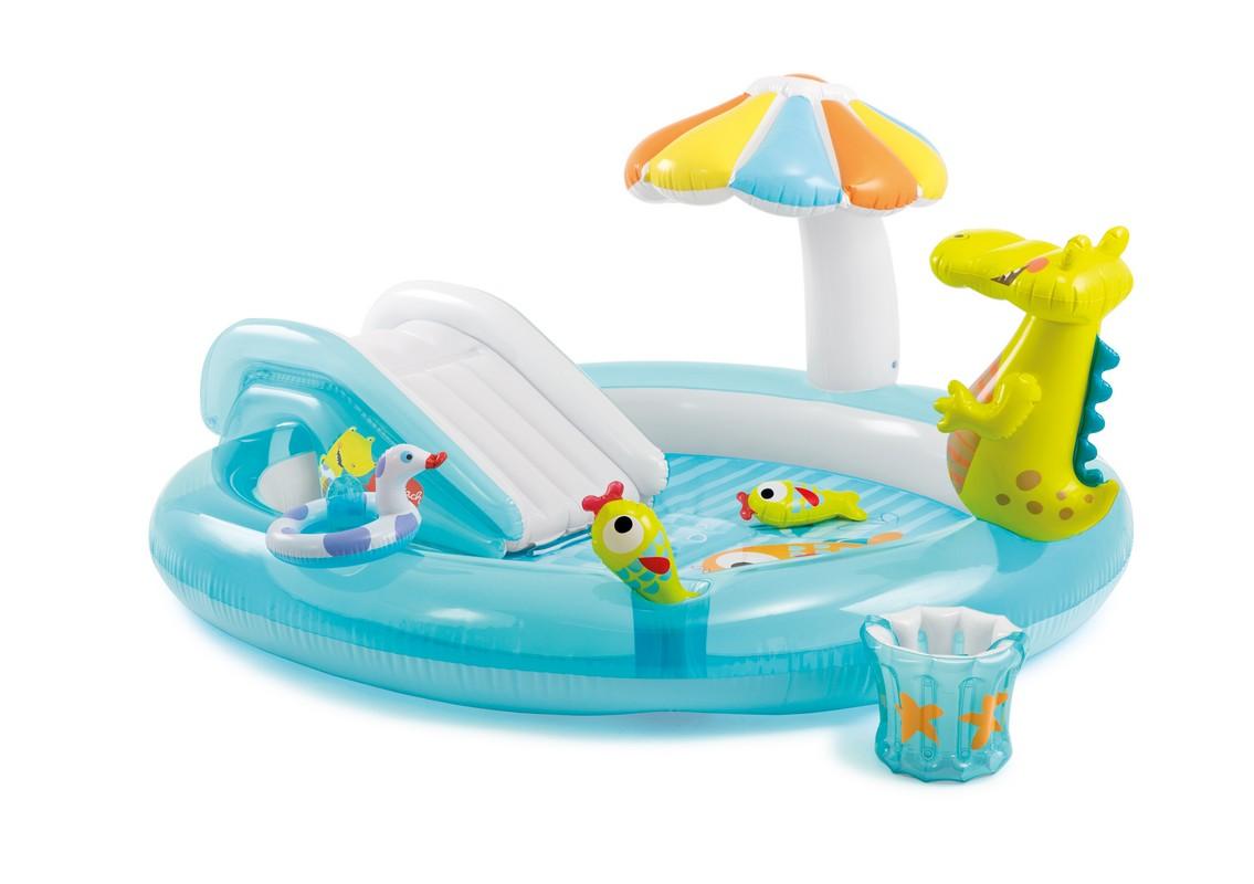 Купить Игровой центр с горкой Аллигатор 203х173х89см Intex 57129, Детские надувные бассейны