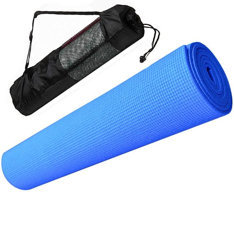Купить Коврик для йоги ПВХ 173х61х0,4 см с чехлом E29253 синий, NoBrand