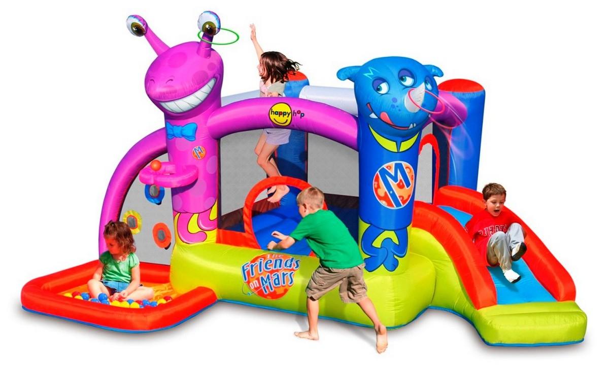 Детский надувной батут с горкой Happy Hop Друзья с Марса 9273