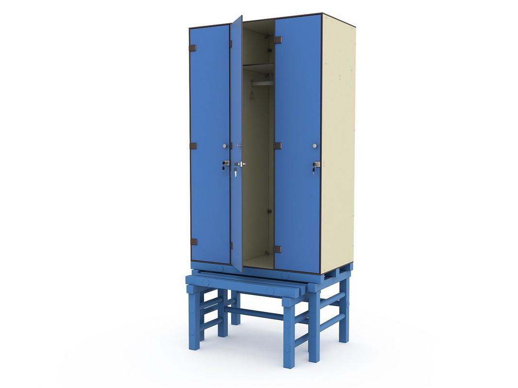 Шкаф ПТК Спорт СТ 3-1 на подставке с выдвижной скамьей (3 ячейки)
