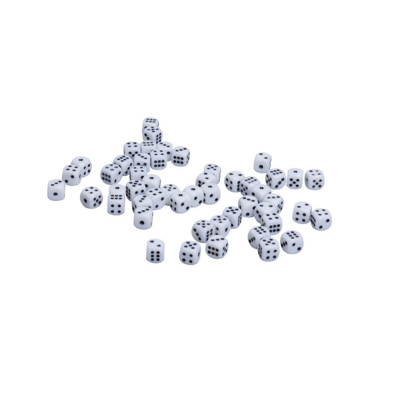 Кости игральные пластиковые, 10мм, 1 шт, цвет белый zar-white