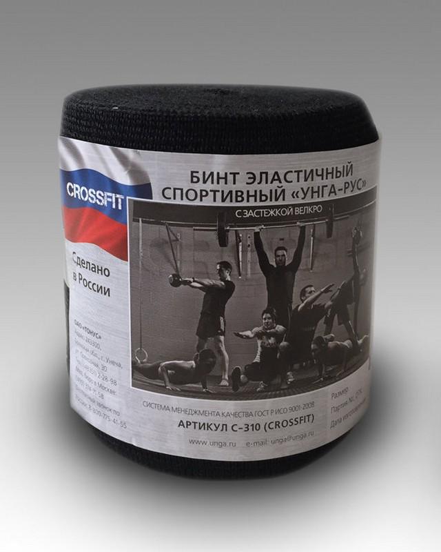Бинт эластичный спортивный Унга-Рус Crossfit черный, 1,5 м x 8 см C-310