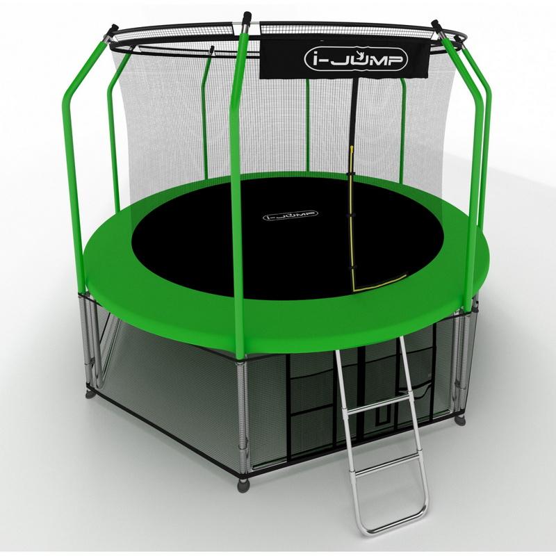 Картинка для Батут i-Jump Elegant 10FT 306 см с нижней сетью и лестницей (green) 10ft_el-green