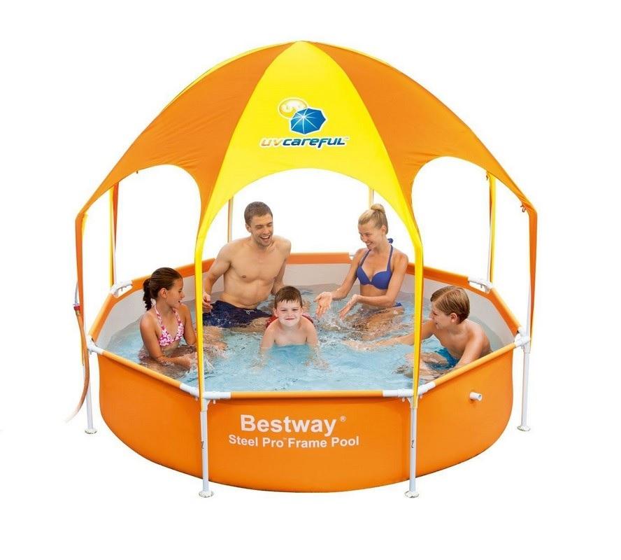 Купить Каркасный бассейн с навесом 244х51 см Bestway 56432,