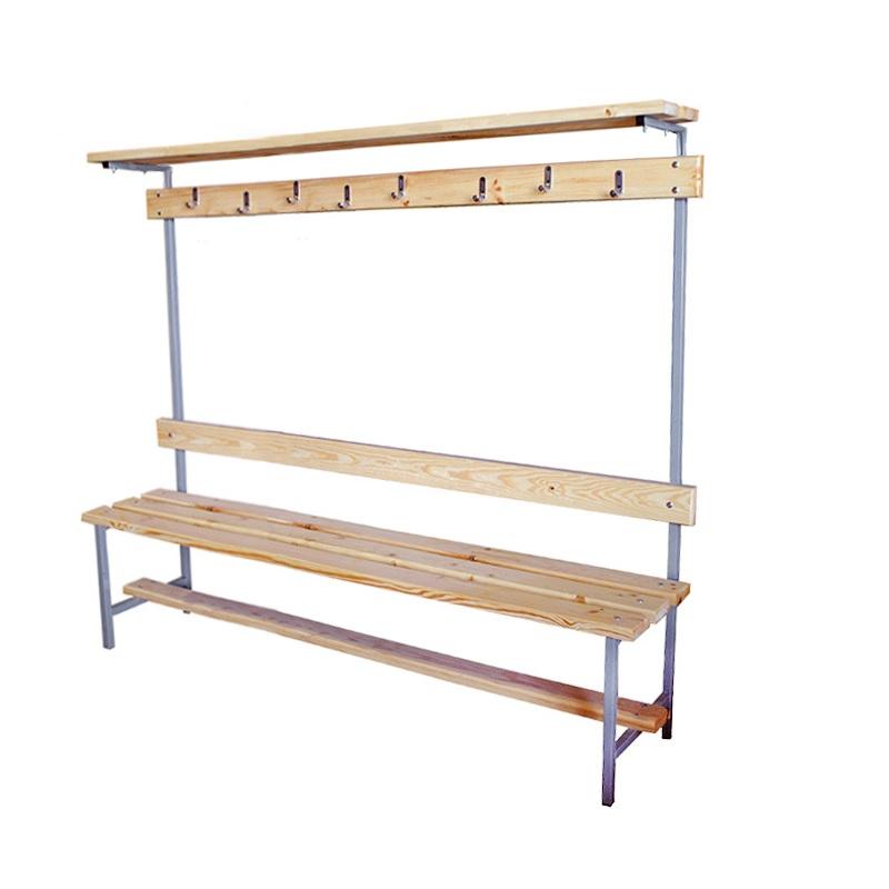 Купить Скамейка для раздевалки с вешалкой 1500 мм верхней полкой сиденье из дерева Dinamika ZSO-002200,