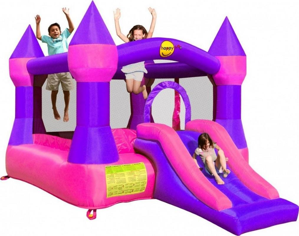 Детский надувной батут с горкой Happy Hop Супер прыжок 9017P