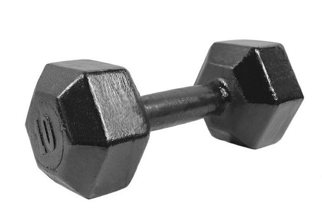 Купить Гантели гексагональные Iron King литые черная эмаль - 10 кг.,