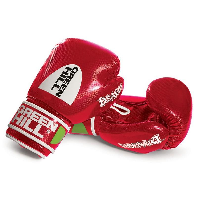 Перчатки боксерские Green Hill Dragon BGD-2056-12-RD, 12 oz, синт. кожа ПУ, красные перчатки боксерские green hill dove цвет синий белый вес 10 унций bgd 2050