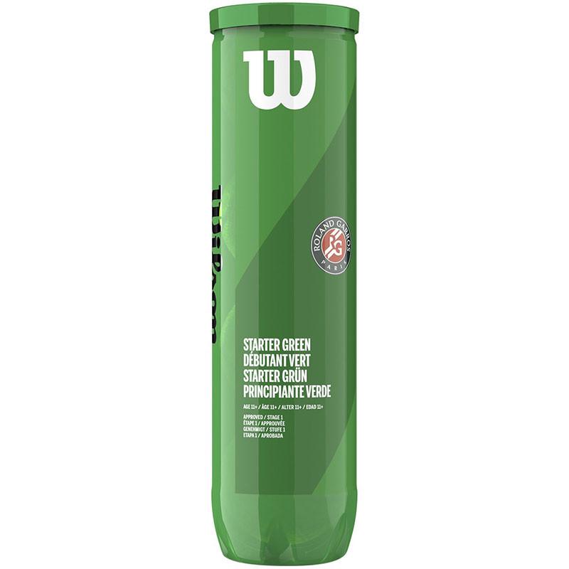 Мяч теннисный Wilson Roland Garros WRT147500, 4 мяча в пласт.банке, зеленый