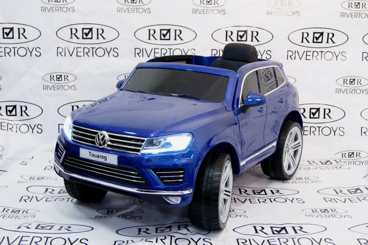Купить Электромобиль River-Toys Volkswagen Touareg с пультом ДУ синий глянец, Детские электромобили