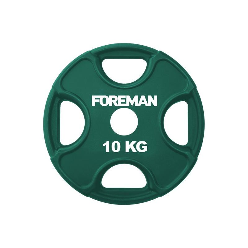 Купить Диск олимпийский обрезиненный Foreman PRR, 10 кг PRR-10KG Зеленый,