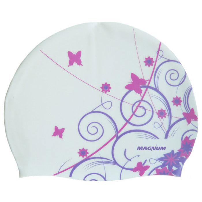 Купить Шапочка для плавания силиконовая SR Белая Бабочки BUTTERFLY-PR, NoBrand