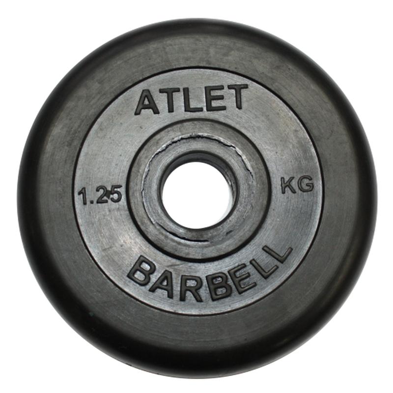 Диск обрезиненный d31мм MB Barbell Atlet 1,25 кг черный