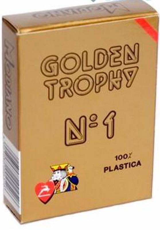 Карты для покера Modiano Golden Trophy 100% пластик красная рубашка