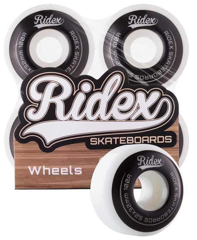 Комплект колес для скейтборда Ridex SB, 100А, 52x32мм, белый/черный, 4 шт. детский комплект из 3 эл тов защиты для роликов скейтборда или самоката basic