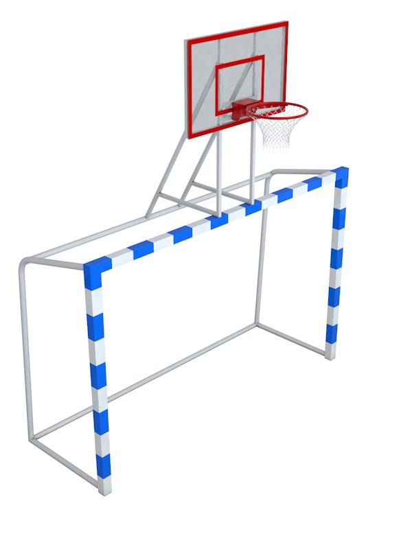 Купить Ворота с баскетбольным щитом из оргстекла Glav удлиненными штангами и стаканами 7.102-2,