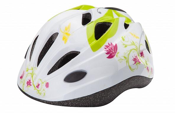 Шлем защитный Stels HB6-5 (out-mold) белый с цветами 31182 фото