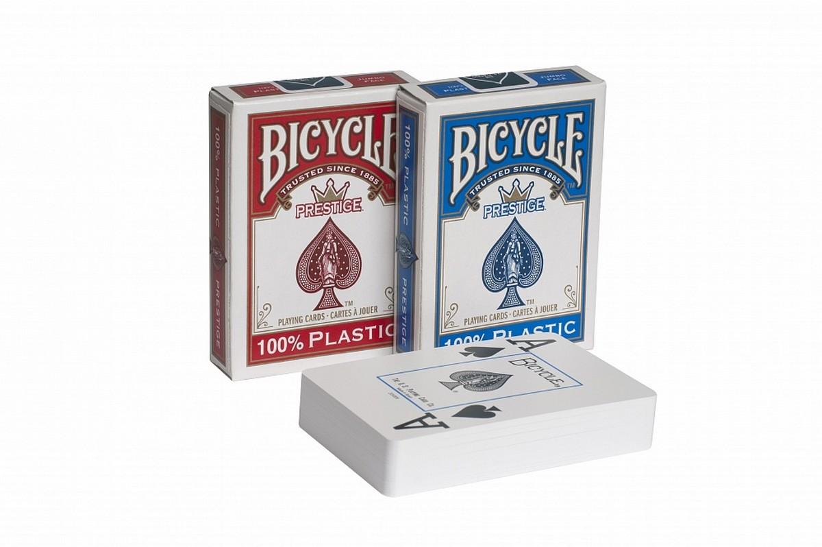 Карты для покера Bicycle Prestige 100% пластик, синяя рубашка bprblue