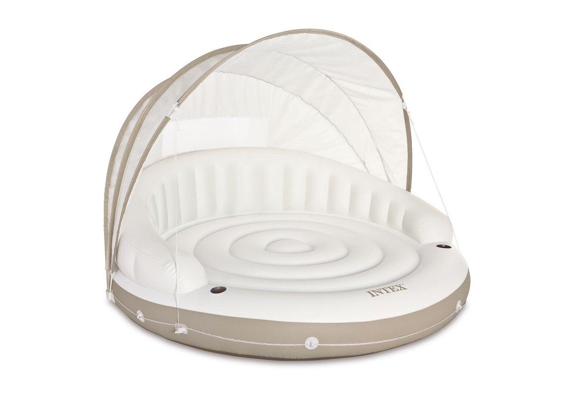 Купить Надувной круг-шезлонг со сьемным навесом, 199х150 см Intex 58292,