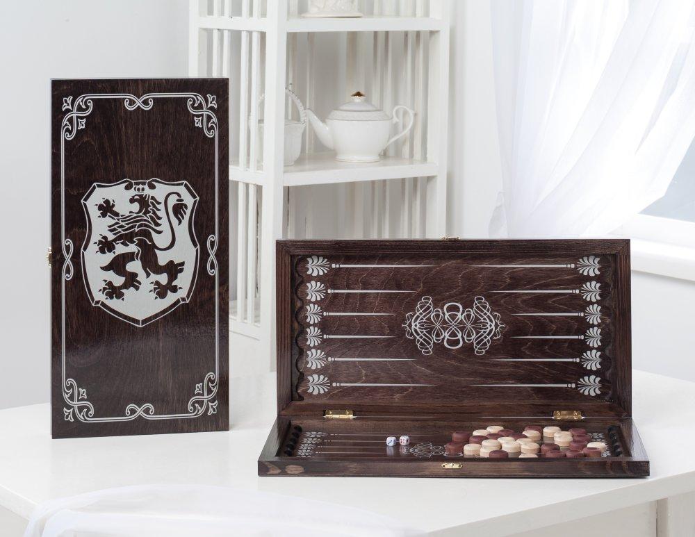Купить Нарды средние Герб 142-17 венге, рисунок серебро, NoBrand, Шахматы, шашки, нарды