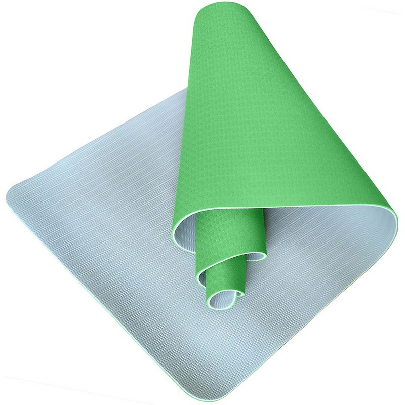 Купить Коврик для йоги Sportex ТПЕ 183х61х0,6 см TPE6-C зеленыйсерый (B34418),
