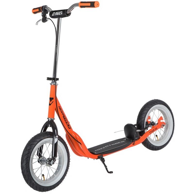 Купить Внедорожный самокат Novatrack Stamp N4 12 (надувные колеса), тормоза V-brake, дропаут 12STAMPN4.OR20 оранжевый,