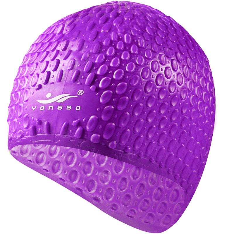 Купить Шапочка для плавания силиконовая Bubble Cap B31552 (фиолетовая), NoBrand