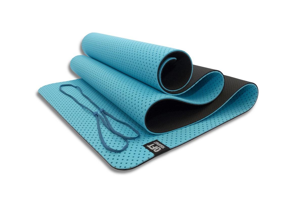 Мат для йоги Original Fit.Tools FT-YGM6-3DT-SKYBLUE голубой