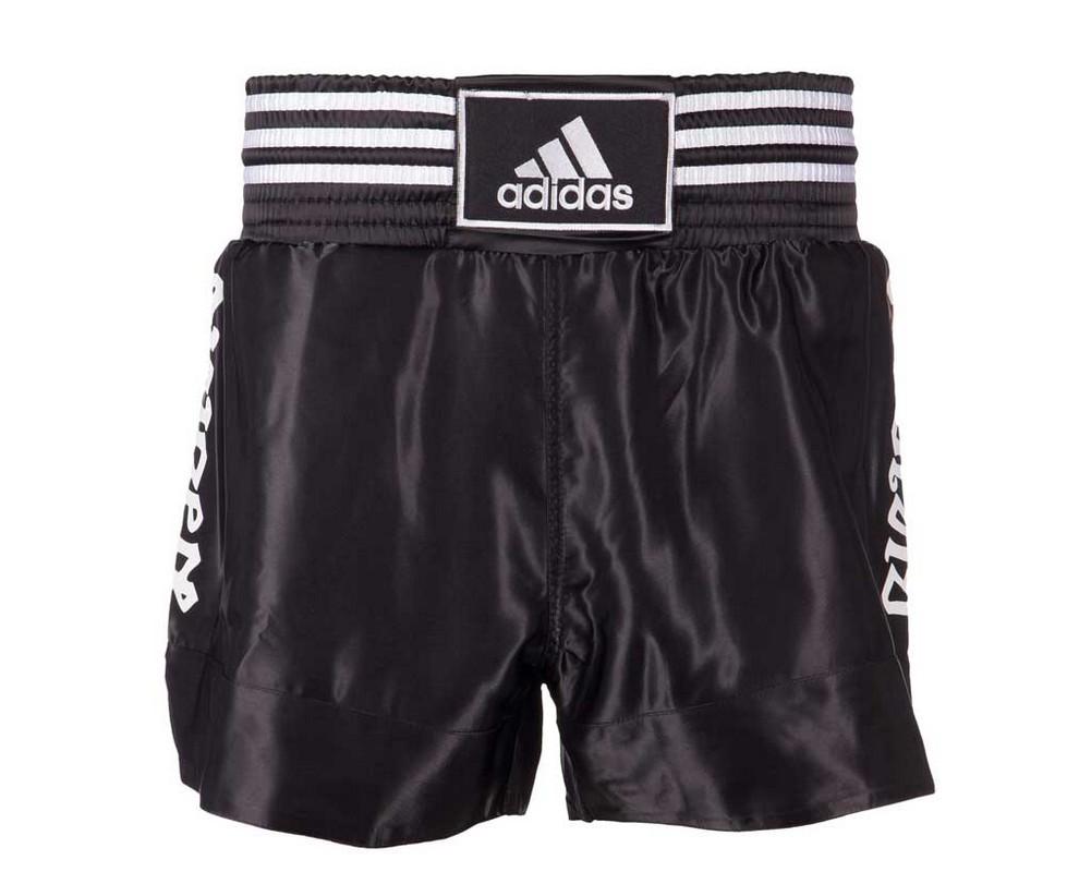 Шорты для тайского бокса Adidas Thai Boxing Short Satin черно-белые adiSTH01 шорты adidas шорты b court short conavy white