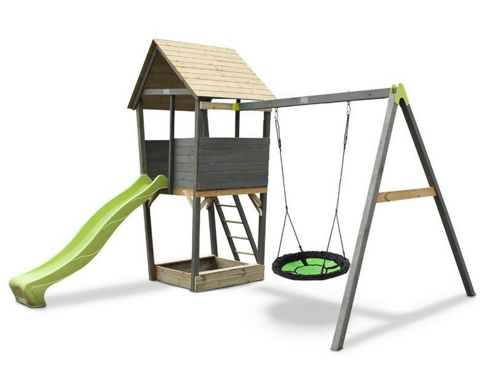 Игровой комплекс Акцент с качелями-гнездо Exit 80093 песочница акцент exit 80087