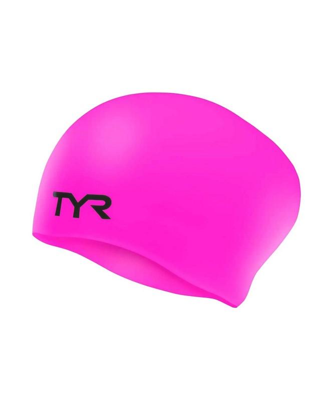 Купить Шапочка для плавания TYR Long Hair Wrinkle-Free Silicone Junior Cap, силикон, LCSJRL/693, розовый,