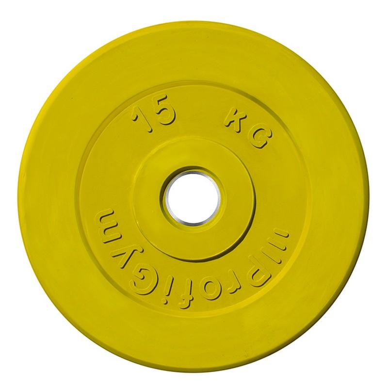 Диск обрезиненный ProfiGym D=51 мм жёлтый 15,0 кг ДТРЦ-15/51