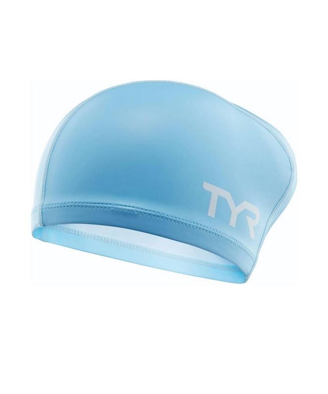 Купить Шапочка для плавания TYR Long Hair Silicone Comfort Swim Cap, LSCCAPLH/450, голубой,