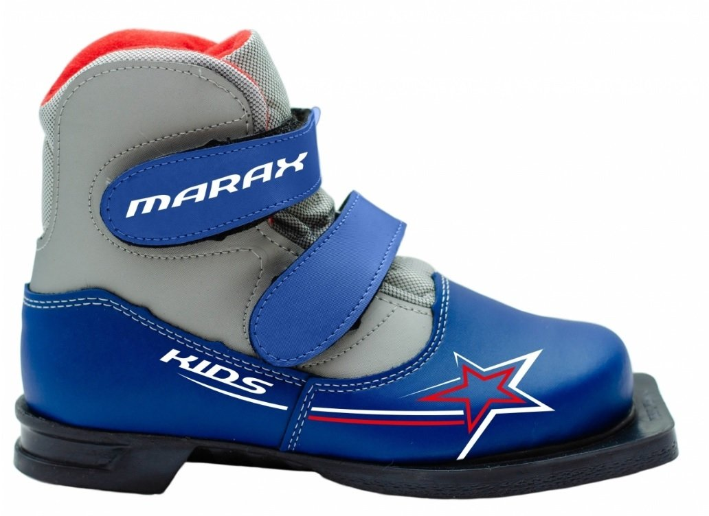 Лыжные ботинки NN75 Marax Kids (на липучке) сине-серебро фото