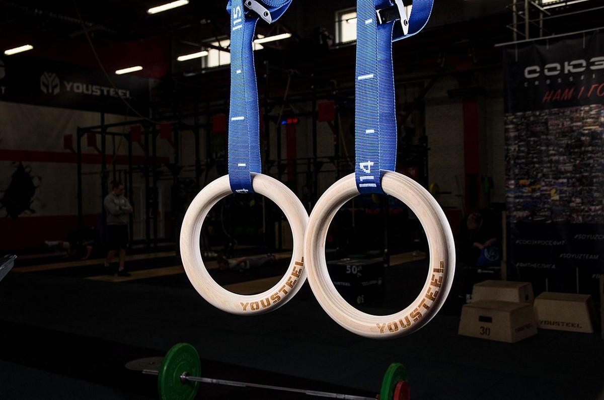 Купить Кольца гимнастические YouSteel деревянные, D32мм (комплект) синие стропы,