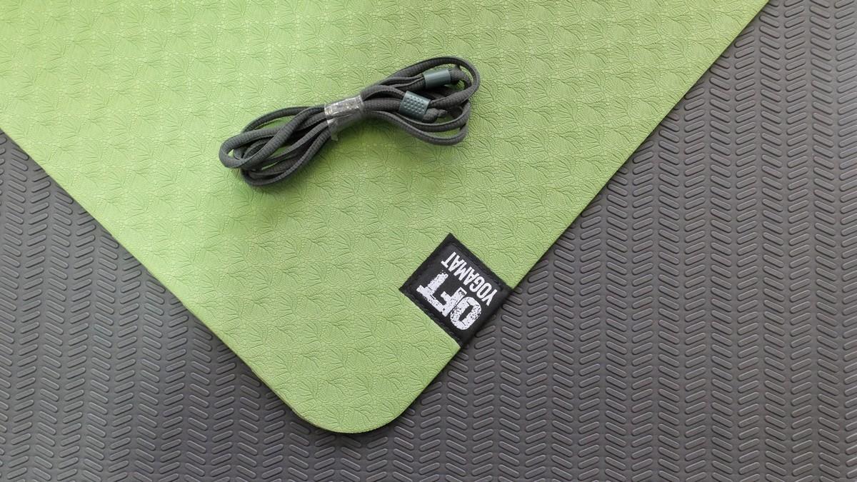 Мат для йоги Original Fit.Tools FT-DLR-TPE6-GREEN-BK зеленый-черный