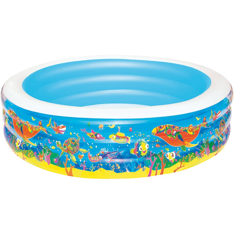 Купить Бассейн детский 229х56 см Bestway Подводный мир 51123, Детские надувные бассейны