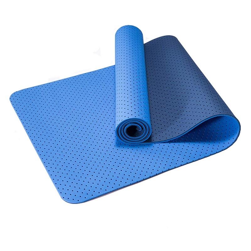 Купить Коврик для йоги Sportex 2-х слойный ТПЕ 183х61х0,6 см TPE-2T-3 синийголубой,