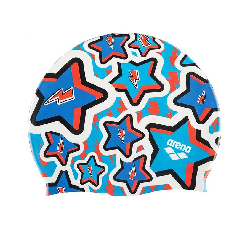 Купить Шапочка для плавания Arena Print Jr детская, 94171208, синий, принт Frolic,