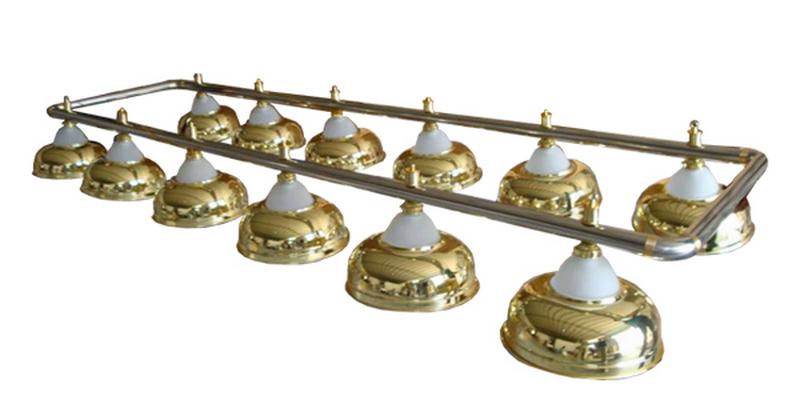 Лампа на двенадцать плафонов Crown D38 (золотистая, серебр. штанга) 75.016.12.0