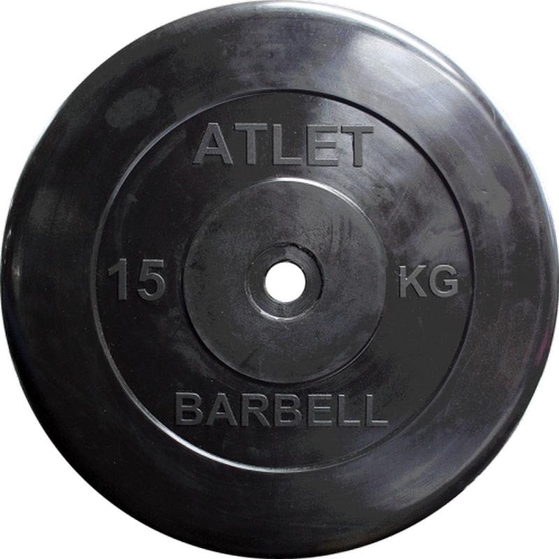 Диск обрезиненный d31мм MB Barbell Atlet 15 кг черный