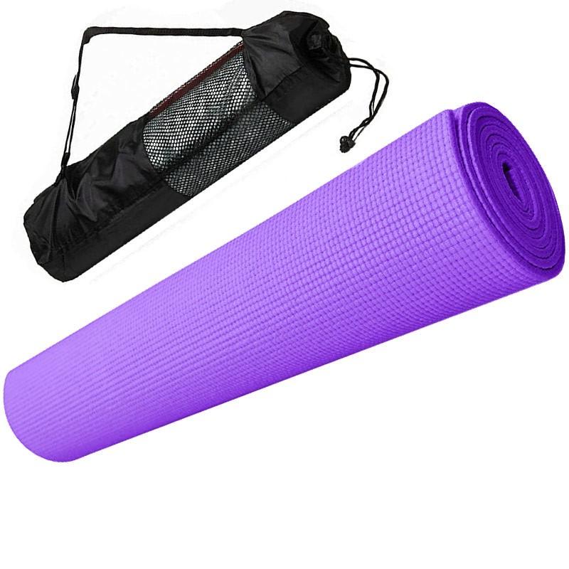 Купить Коврик для йоги ПВХ 173х61х0,4 см с чехлом E29254 фиолетовый, NoBrand