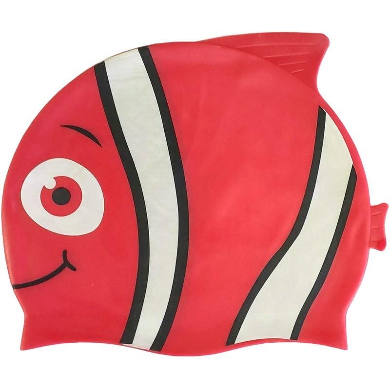 Купить Шапочка для плавания B31573 детская силикон (красная Рыбка), NoBrand