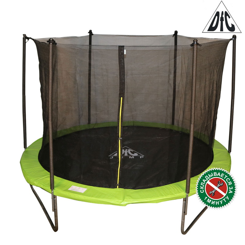 Батут DFC Jump 10FT 305 см c сеткой, складной, чехол apple green 10FT-TR-EAG
