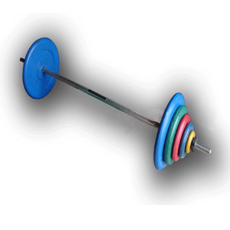Штанга разборная, 90 кг в наборе, тренировочная, диски обрезиненные цветные, (гриф1900*30мм) ProfiGym ШТРц-90-26 разборная штанга с гантелями hawk hkdbs414 50 кг хамертон
